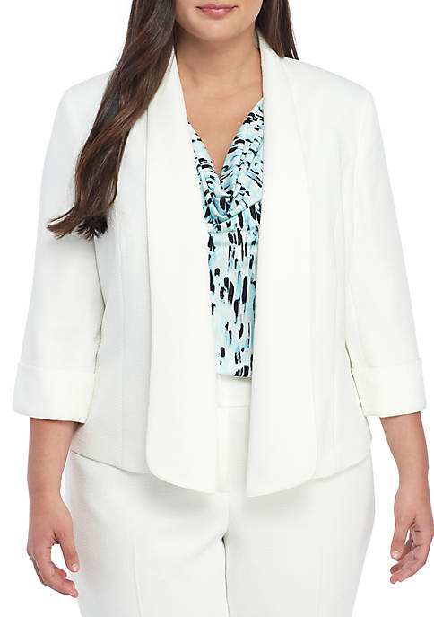 Plus Size Textured Fly Away Jacket