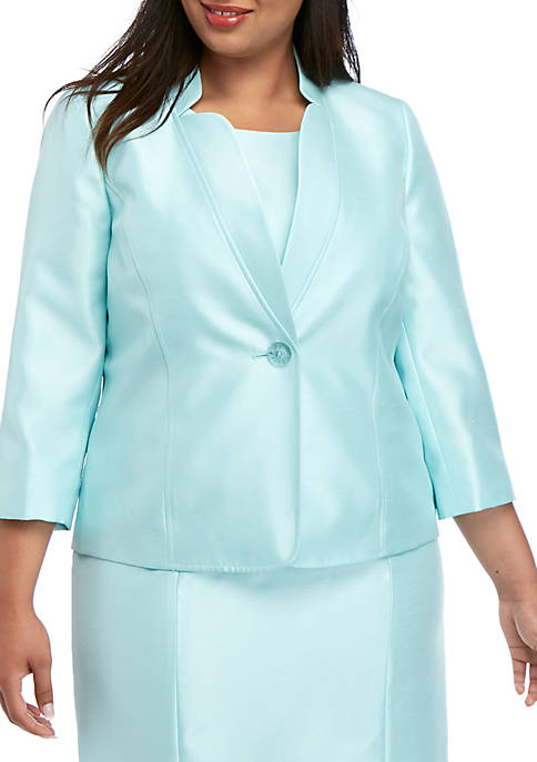 Kasper Plus Size Shiny 1 Button Jacket