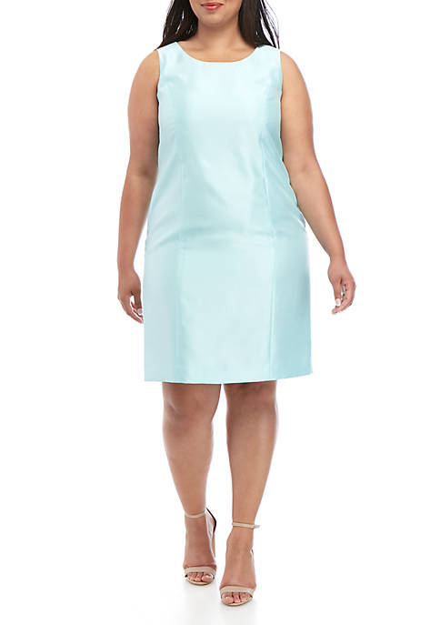 Kasper Plus Size Shiny Jewel Neck Dress