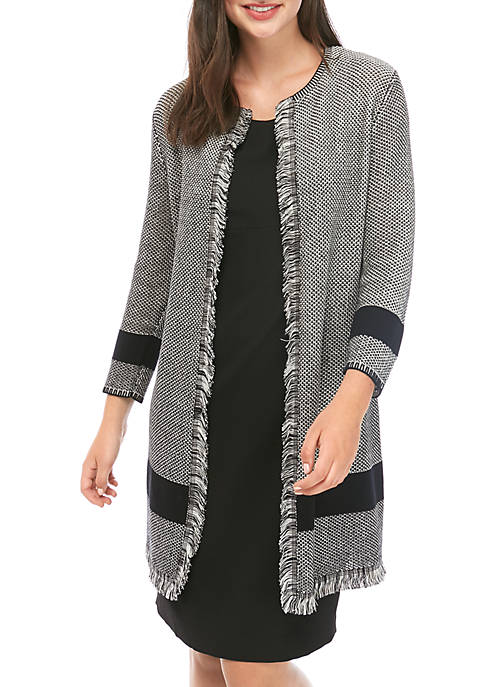 Kasper Womens Seed Stitch Cardigan with Fringe