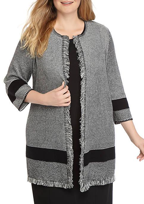 Plus Size Fringe Seed Stitch Sweater