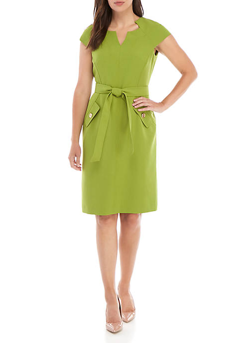Petite Belted Waist Crepe Dress