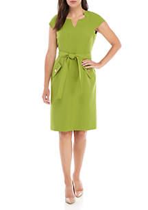 Kasper Petite Belted Waist Crepe Dress