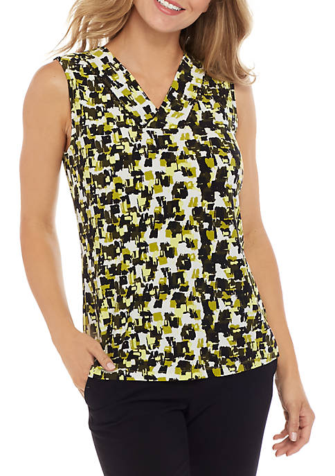 Kasper Sleeveless V Neck Print Cami