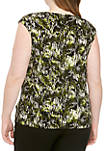 Plus Size Cap Sleeve Printed ITY Cami