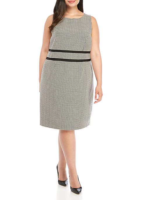 Plus Size Sleeveless Geometric Jacquard Dress