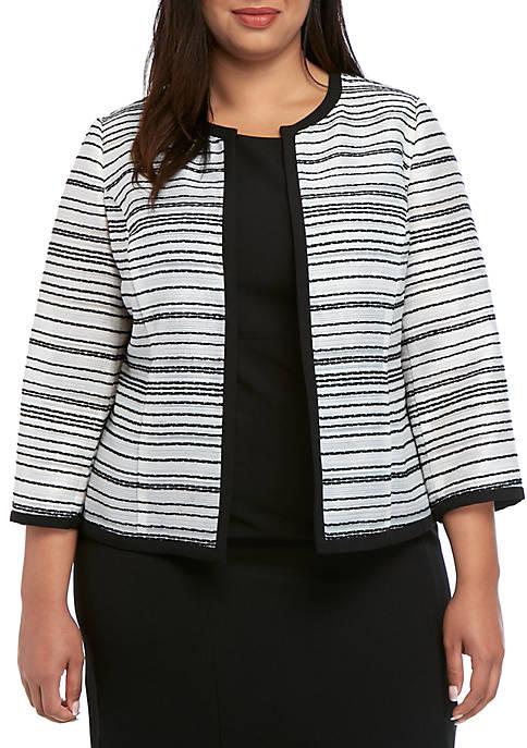 Plus Size Sheer Stripe Open Jacket