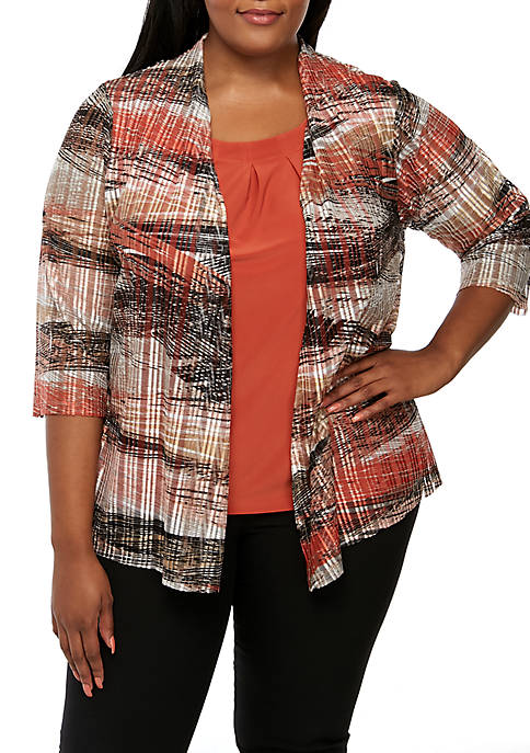 Plus Size Open Mesh Knit Cardigan