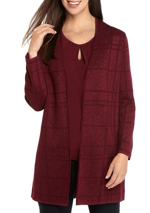 Kasper Womens Plaid Stitch Long Cardigan