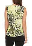 Sleeveless Jungle Print Pleat Neck Top