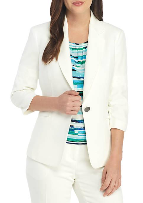 Textured 1 Button Jacket