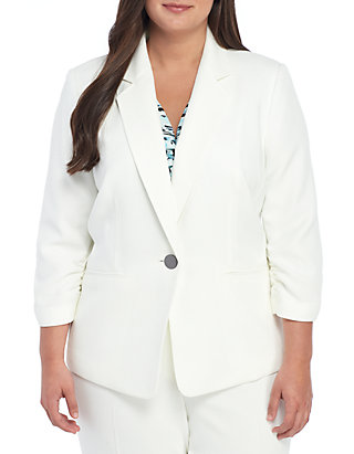 a1e2eb0f13 Kasper Plus Size Textured 1 Button Jacket