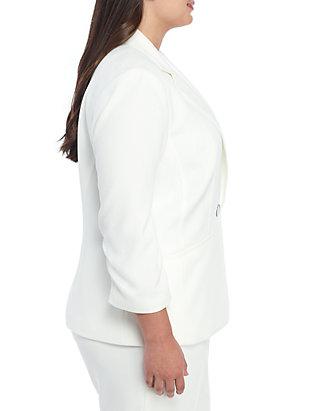 b2e54dfbb3 ... Kasper Plus Size Textured 1 Button Jacket