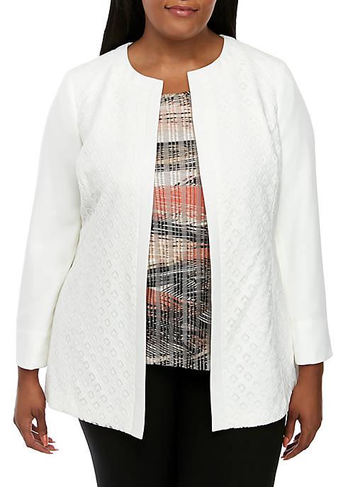 Plus Size Diamond Lace Jacket