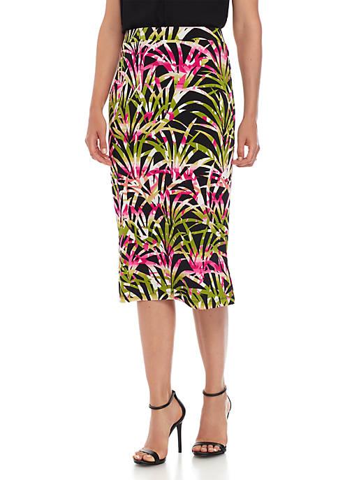 Tropical Leaves Printed Skirt