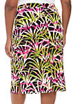 Plus Size Tropical Leaves Printed Skirt