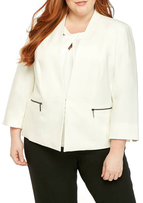Kasper Plus Size Crepe Exposed Zipper Jacket
