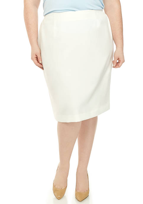 Kasper Plus Size Crepe Slim Skirt