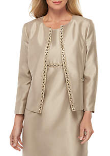 Kasper Beaded Trim Open Jacket