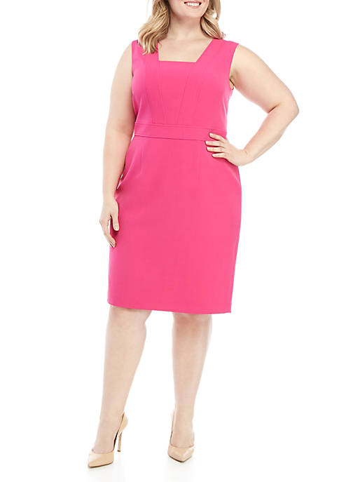 Plus Size Square Collar Crepe Dress