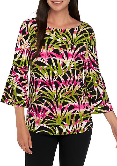 Kasper Bell Sleeve Palm Print Top