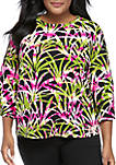 Plus Size Bell Sleeve Palm Leaves Top