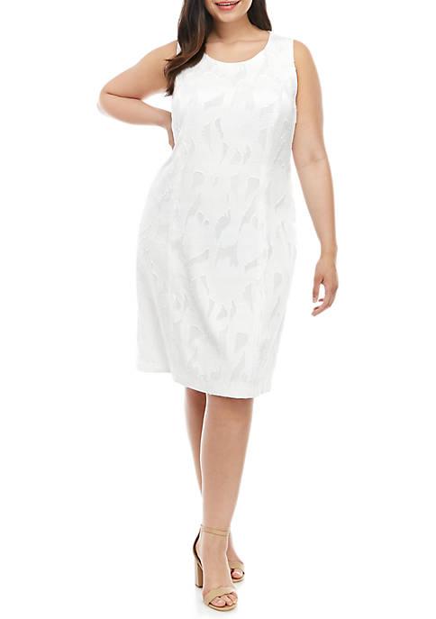Kasper Plus Size Sleeveless A Line Burnout Dress