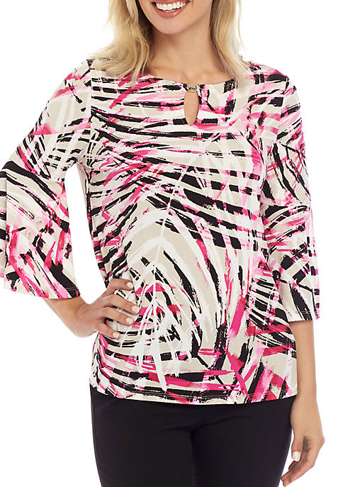 Kasper Palm Spring Print Bell Sleeve Top