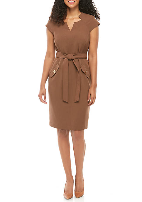 Kasper Crepe Belted Dress