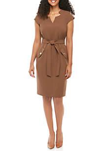 Kasper Crepe Belted Dress