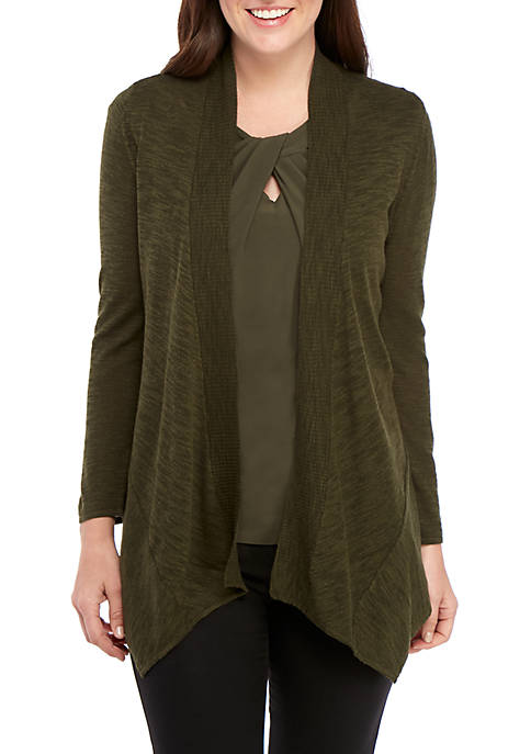 Angled Open Front Cardigan