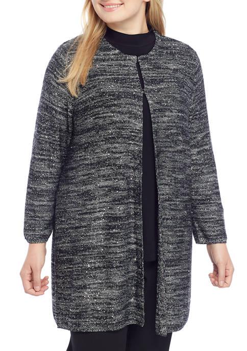 Plus Size Marbled Sequin Cardigan