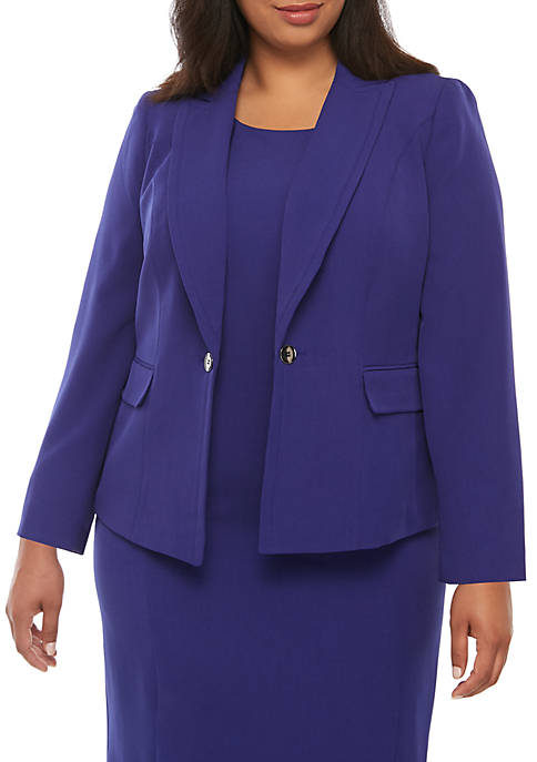 Plus Size Hardware Closure Jacket