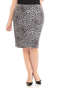 Kasper Plus Size Leopard Print Slim Skirt