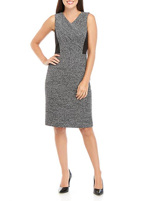 Kasper Petite Sleeveless V-Neck Contrast Dress