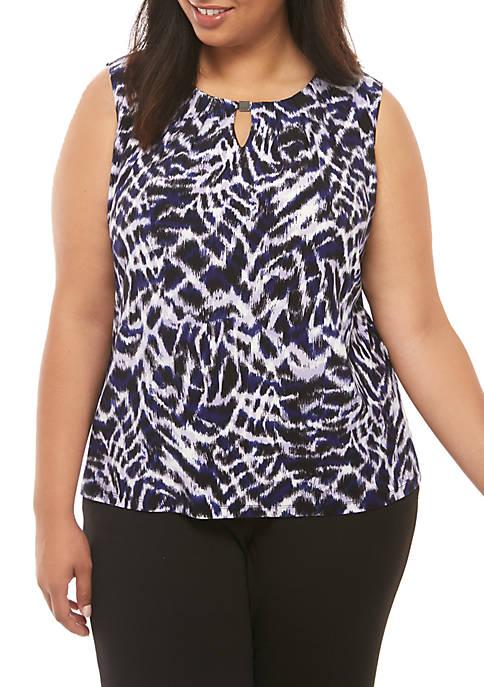 Plus Size Sleeveless Keyhole Zebra Print Blouse