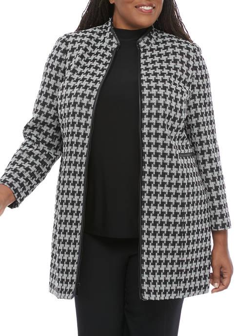 Kasper Plus Size Houndstooth Topper Jacket