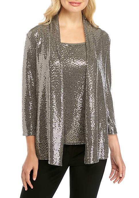 3/4 Sleeve Metallic Cardigan