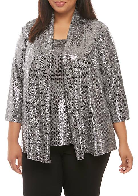 Plus Size 3/4 Sleeve Metallic Cardigan
