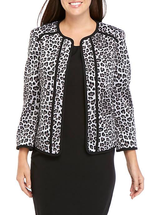 Kasper Leopard Print Flyaway Jacket