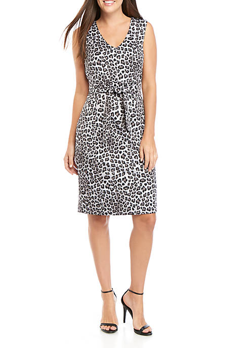 Kasper Sleeveless V-Neck Leopard Print Sheath Dress