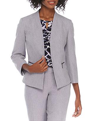 Kasper Womens Metallic Stretch Flyaway Jacket