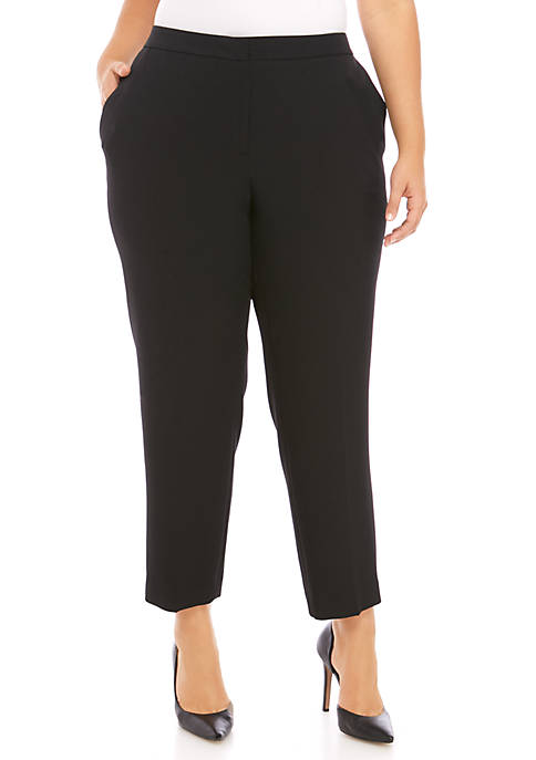 Kasper Plus Size Crepe Elastic Back Pants