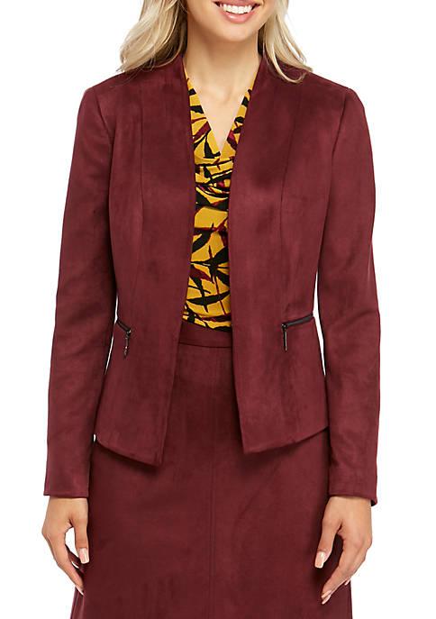 Womens Faux Suede Flyaway Jacket