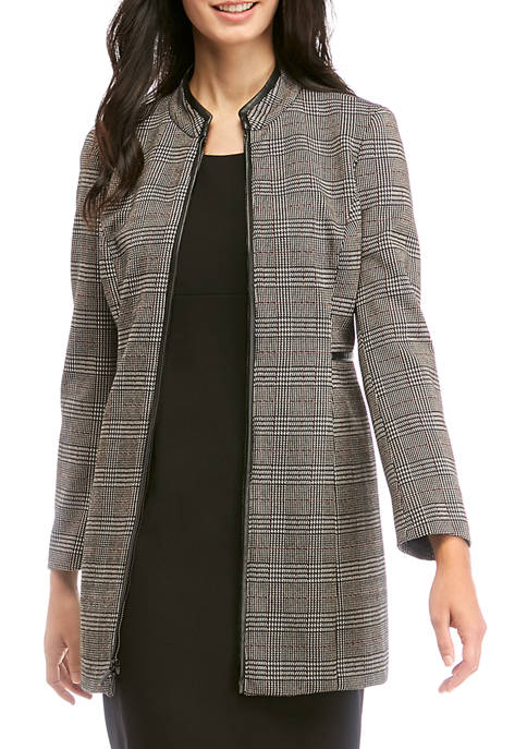 Womens Plaid Stand Collar Jacket with Faux Leather Trim