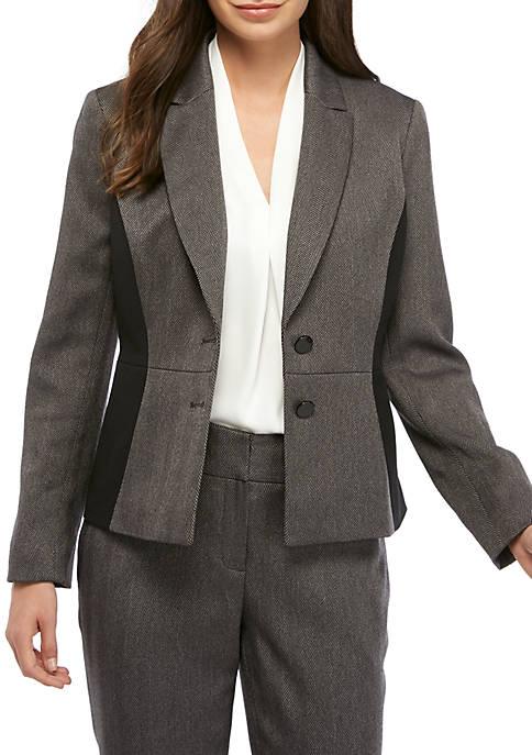 Kasper Womens 2 Button Herringbone Jacket