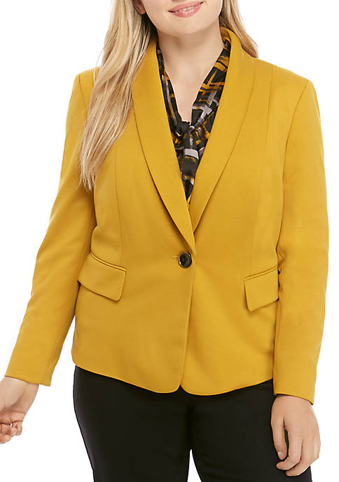 Kasper Plus Size 1 Button Shawl Ponte Jacket