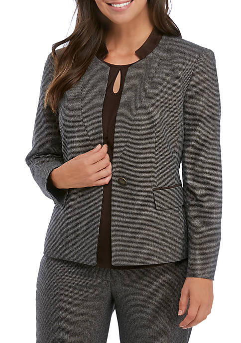 Womens Mini Houndstooth Stand Collar Jacket