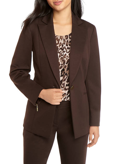 Womens One Button Ponte Jacket