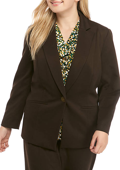 Kasper Plus Size 1-Button Ponte Jacket